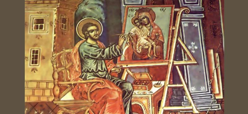 Апостол Лука пишет икону Одигитрия. Фреска 1799 г., храм св. Луки