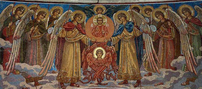 Собор Архистратига Михаила и прочих Небесных Сил бесплотных. Мозаика из Храма Спаса на Крови (Вознесения Христова)